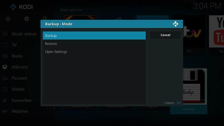 Addons for Kodi Maintenance - Backup Addons