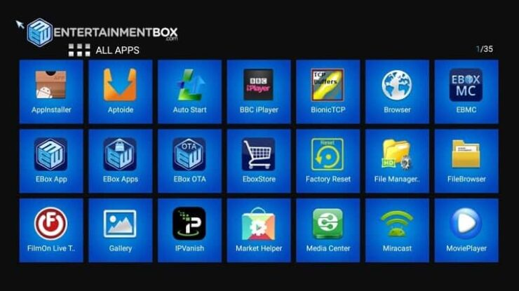 Ebox TV 8 V Smart TV Box Android Apps