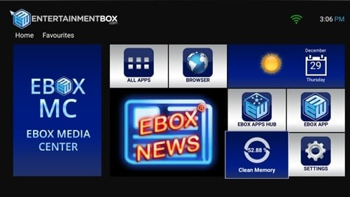 EBox T8 V5 Homescreen