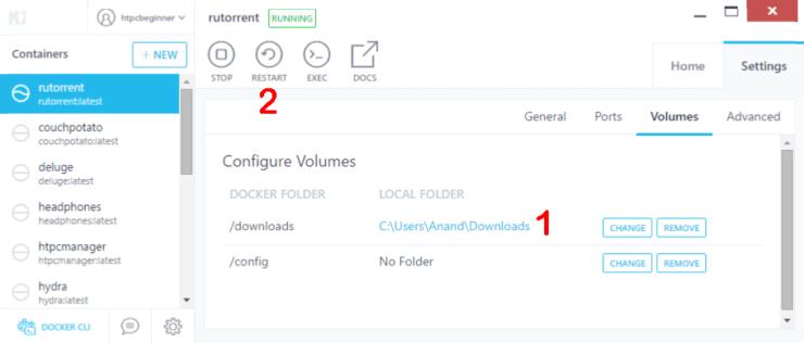Configure Docker Volumes for RuTorrent
