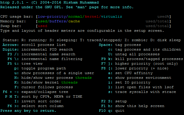 htop help page showing how to use it's features - linux server monitoring