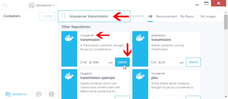 Install Transmission using Kitematic