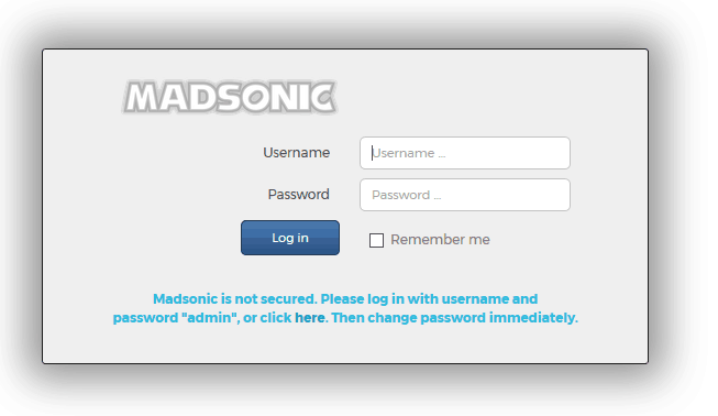 install madsonic on Ubuntu - Madsonic Login screen
