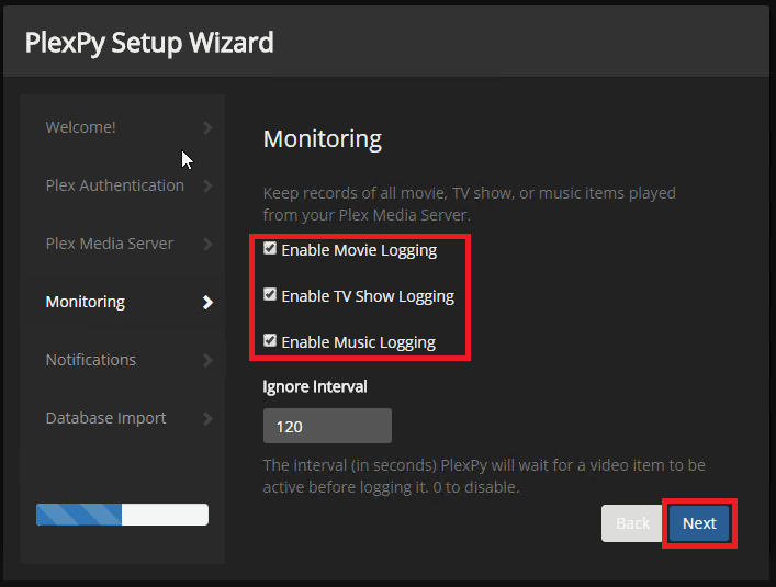 monitor plex usage - monitoring configuration