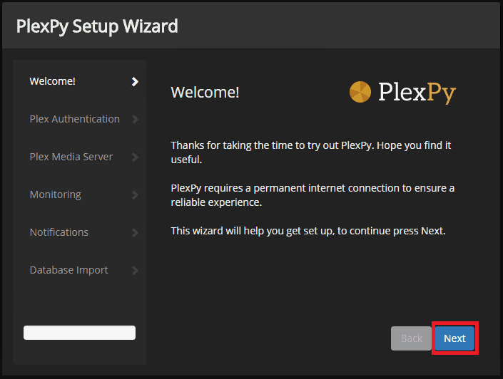 monitor plex usage - PlexPy Setup Wizard