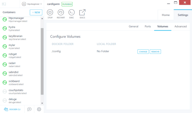 Configure Docker Volumes for Cardigann