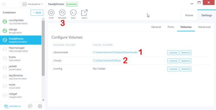 Configure Docker Volumes for Headphones