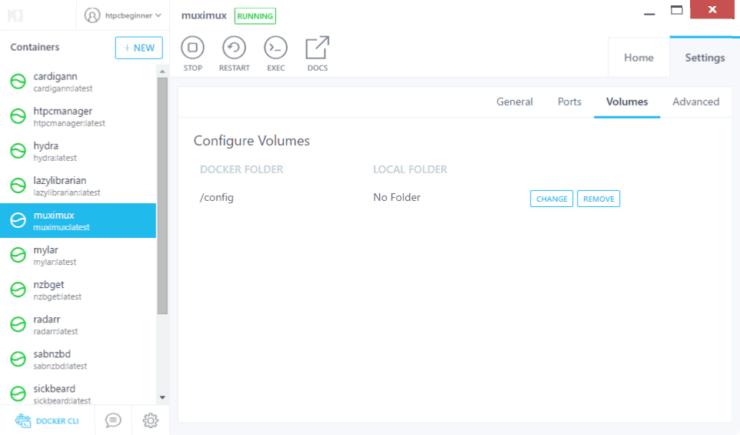 Configure Docker Volumes for Muximux