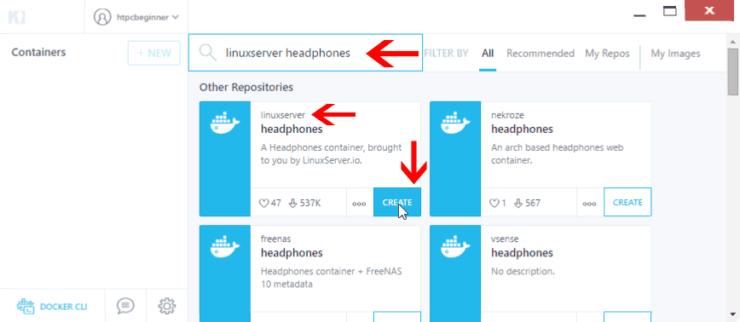 Install Headphones using Kitematic