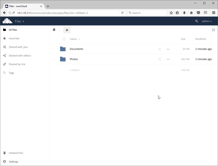 OwnCloud Homepage - Running on Raspberry Pi