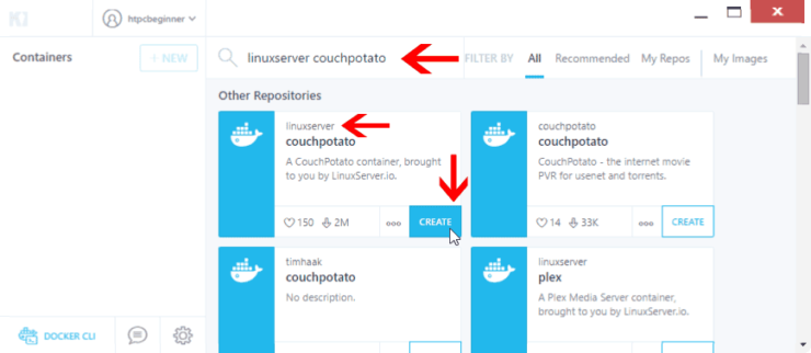Install CouchPotato using Kitematic