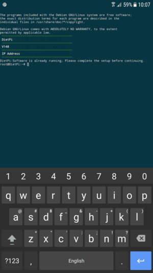 Successfully connected to DietPi via SSH using JuiceSSH - SSH client for android