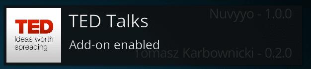 Install TED on Kodi notification
