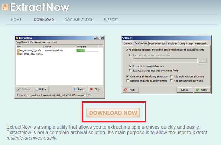 ExtractNow Download page - sonarr extract rar