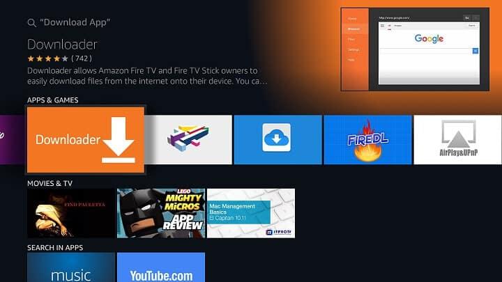 Sideload apps on Fire TV using Fire TV Downloader App - Method 3