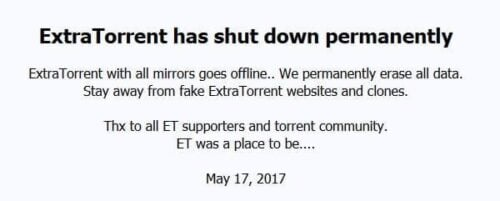 ExtraTorrent shut down - ExtraTorrent.cc message -- ExtraTorrent Return launches