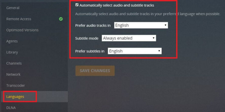 Languages section for subtitles - enable subtitles in plex