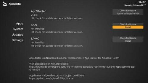 install Kodi using AppStarter - App Starter Kodi Sideload