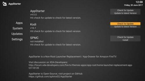 update kodi on amazon fire tv - Check for Kodi Updates with AppStarter