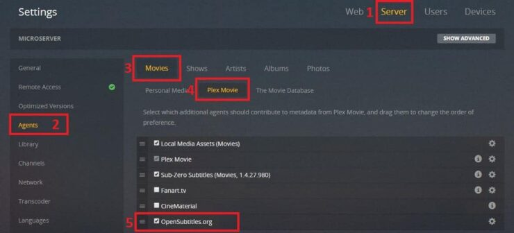 Plex OpenSubtitles setting - enable subtitles in plex