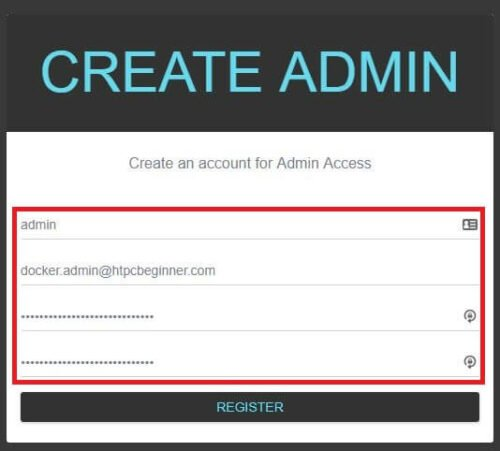 Create a strong administrator username and password for Organizr - install organizr using docker