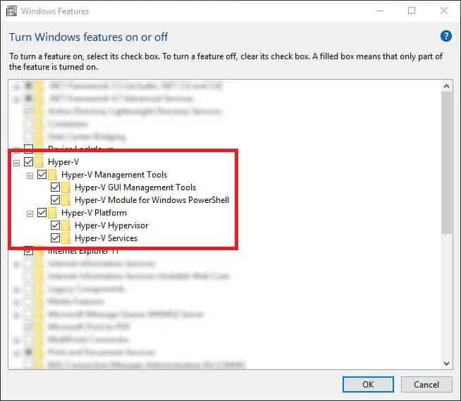 Enable Hyper-V in Windows Features - install Hyper-V in Windows 10