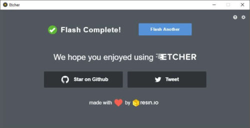 Etcher confirmation after the flash has completed - openPHT odroid C2 setup