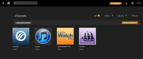 Plex uses channels instead of add-ons - switch from kodi to plex