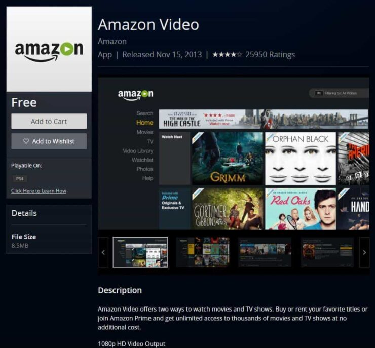 Amazon Video on PS4 - streaming apps for ps4