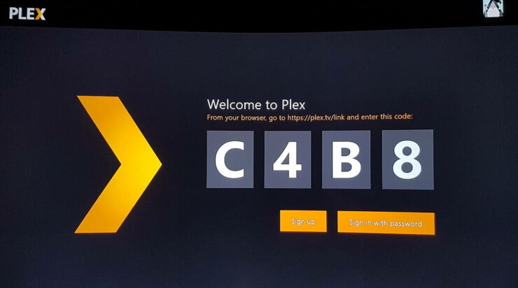 Enter the Sign In code on your Plex account - setup plex client on Xbox One
