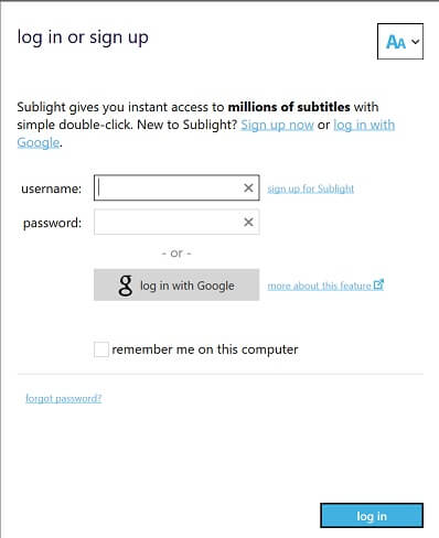 Sublight Logon Account Signup