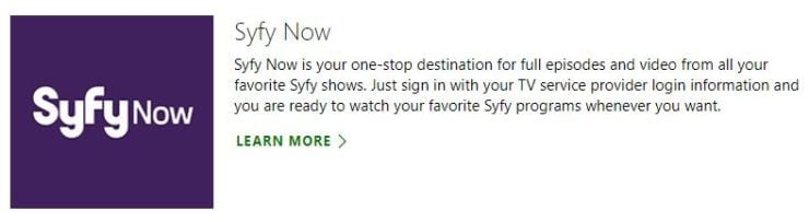 Syfy Now Xbox One - streaming apps for xbox one