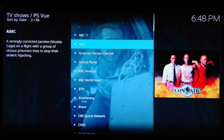 PS Vue Addon Channels List
