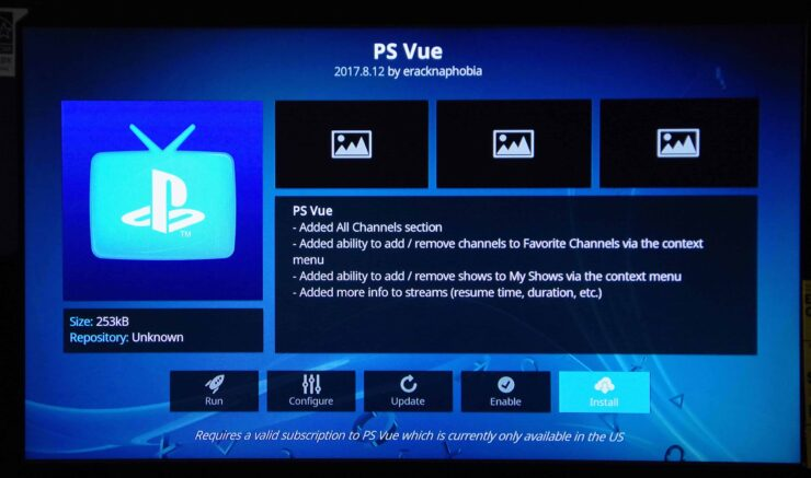 Install Playstation Vue on Kodi