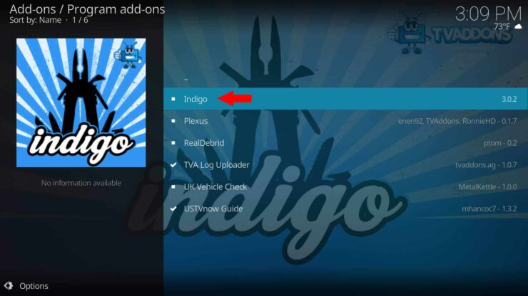 Install Indigo on Kodi from TVAddons
