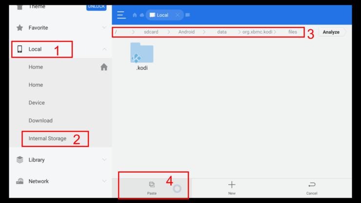 Paste Kodi zip file to Kodi data folder