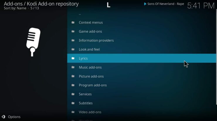 Using the Kodi repository lyrics directory - Icecast Ices2 music server for Raspberry Pi