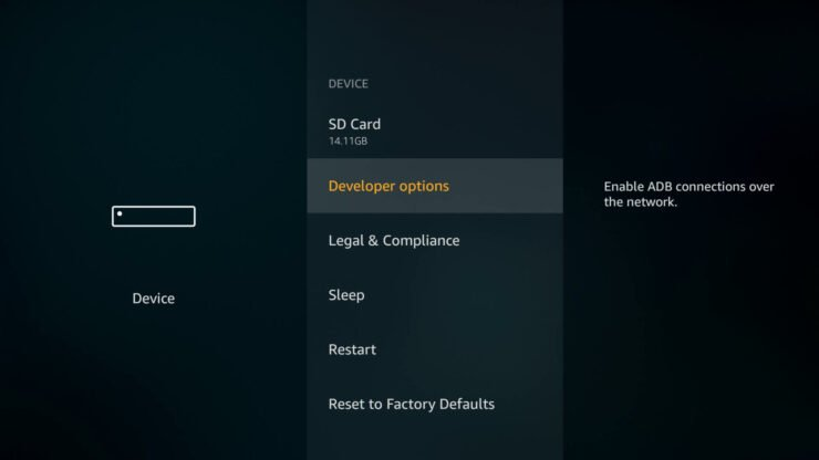 Amazon Fire TV Developer Options