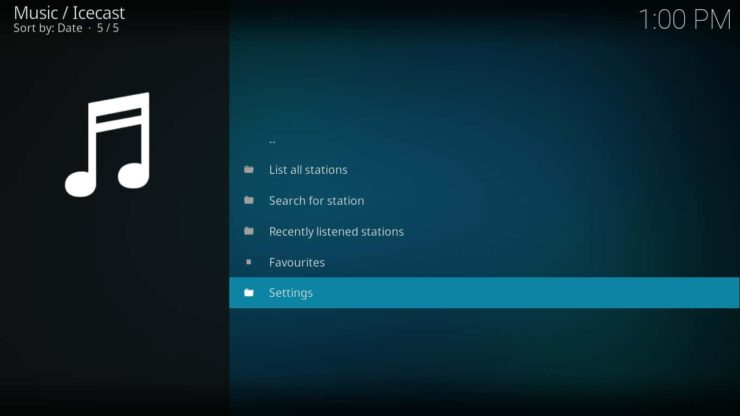 Icecast addon for Kodi settings - Icecast Ices2 music server for Raspberry Pi