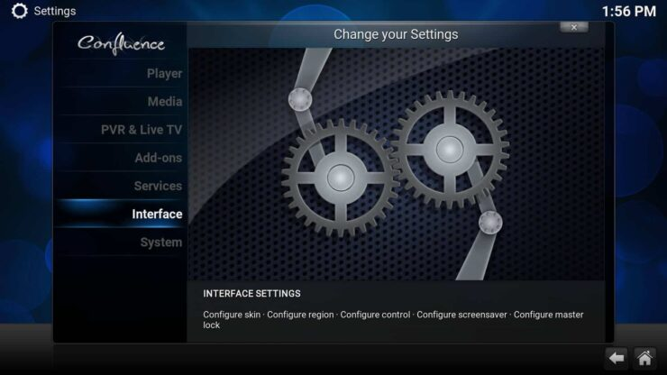 Interface settings - How to add Favorites shortcut to Kodi homescreen