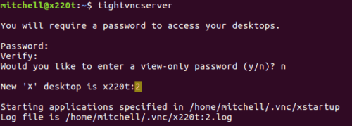 Setup VNC Server on Linux home server
