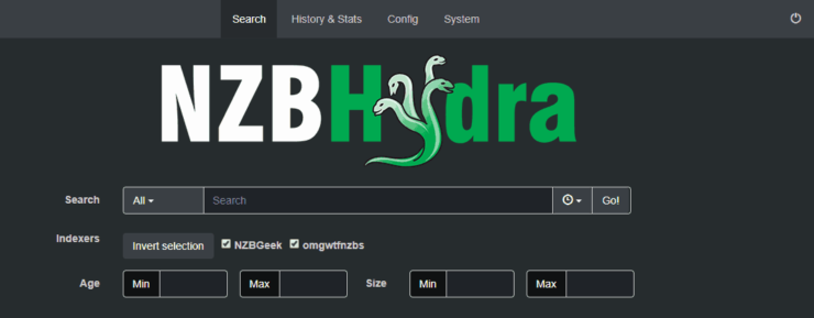 NZBHydra Web Interface