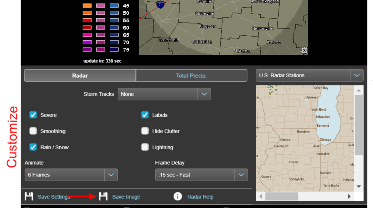 Customize Options for Animated Weather Radar