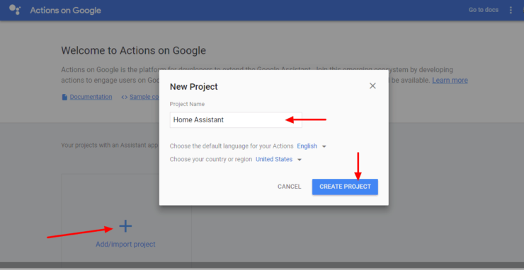 Create a New Google Actions Project