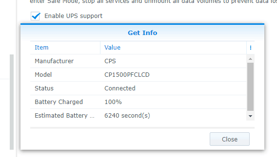 Synology UPS Device Information
