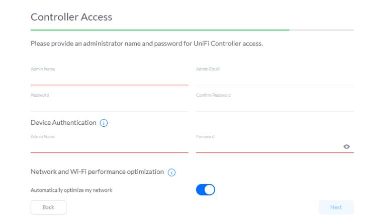 UniFi Controller Access Details