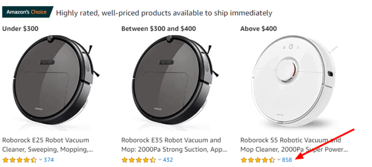 Roborock Vacuums are highly rated on Amazon