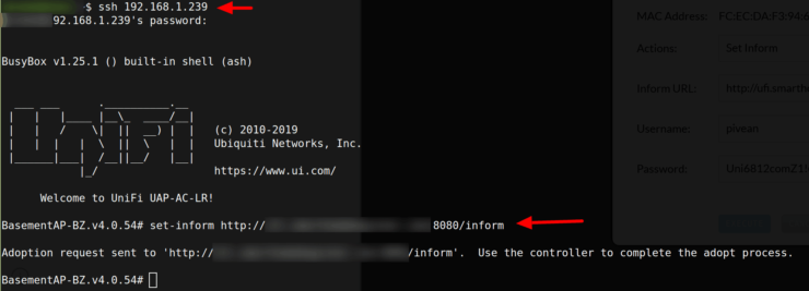 Set Inform IP for UniFi Devices using SSH