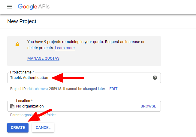 Google OAuth New Project Details