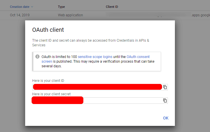 Google OAuth Client Credentials